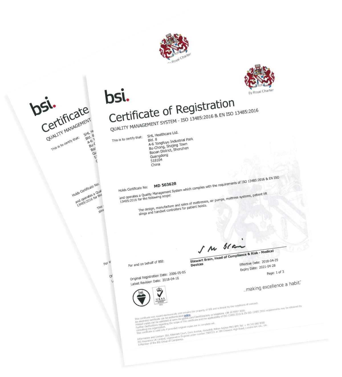 ISO13485 Certificate. Medtech Manufacturing by SHL Healthcare.